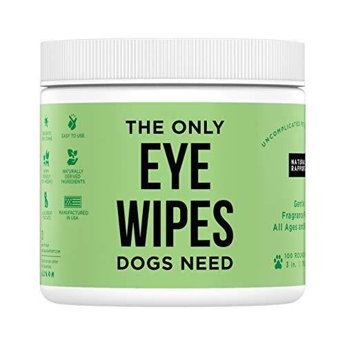 Natural Rapport Toallitas y Lágrimas para Mascotas – El Único Toallitas de Ojos Que Necesitan los Perros – Tratamiento Limpiador Ocular para Perros y Gatos (Gotas y Toallitas) (100 Count)
