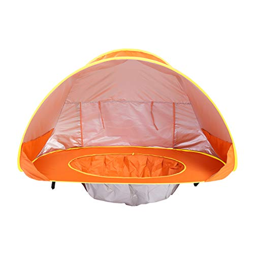 SM SunniMix Baby Beach Tent Pop Up Portable Shade Pool UV Protection Sun Shelter for Infant Boys & Girls - Orange, as described