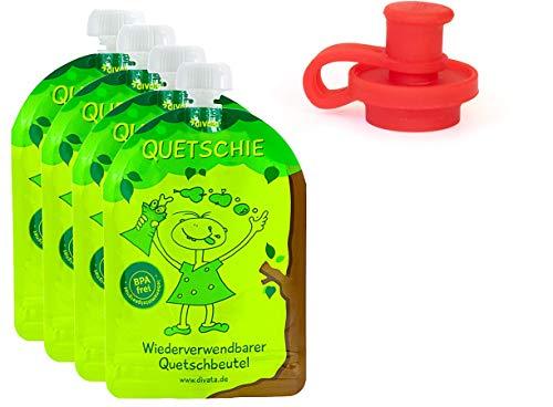 divata Quetschies/Quetschbeutel, 170ml (4er Pack + Pouch Top) - BPA-frei, wiederverwendbar, zum selbst befüllen | inkl. weichen Aufsatz