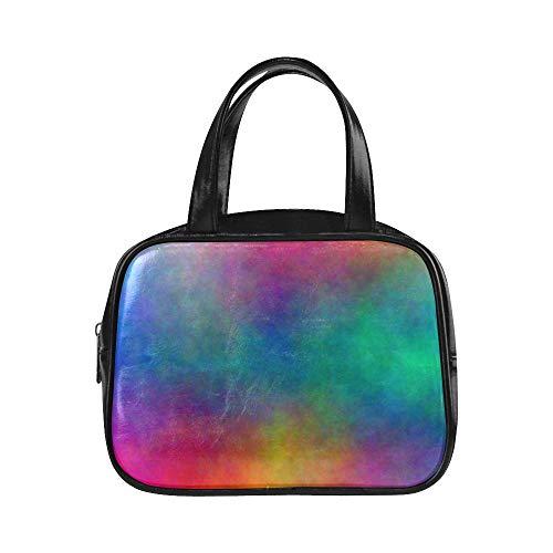 Farbe Einkaufstasche Aquarell mischen Farben Handtaschen Mädchen Frau Einkaufstasche Pu Leder Top Griff Satchel Travel Handtasche