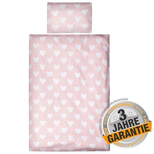 Aminata kids süße rosa Bettwäsche Kinder Herzen Mädchen 100x135 cm + 40 x 60 cm aus Baumwolle mit Reißverschluss, unsere Kinderbettwäsche mit Herz-Motiv ist weich und kuschelig, Altrosa, Pastell