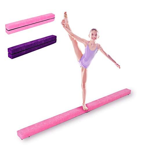 DREAMADE Schwebebalken Kinder, Balance Balken Turnen, Schwebebalken klappbar, Balance Beam, Gymnastikbalken Übungsbalken Balken für Turnen Kinder, Holz, 210 x 10 x 6.5cm (Pink)