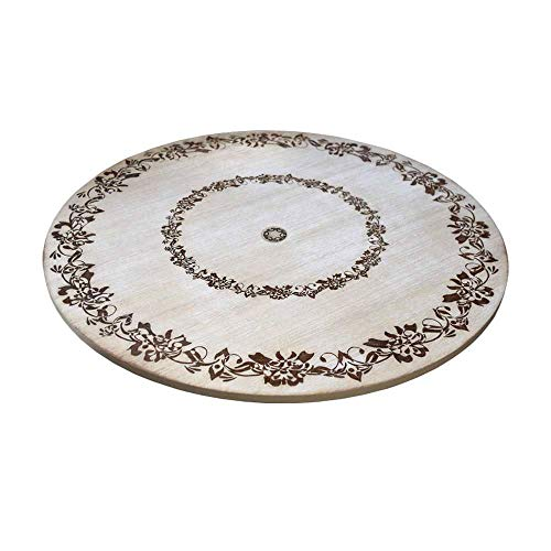 "Premium Engraved WoodTabletop Lazy Susan, 18 x 18 x 1"", Rustic, Antique DistressedLook, Turn Table, Kitchen Dinner TurningTable Tray, Round Non-Skid Spinning Lazy-Susan Organizer"