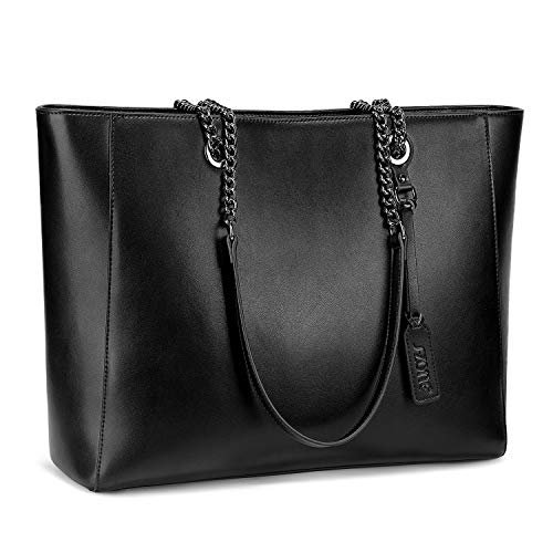 S-ZONE 15.6-Inch Women Genuine Leather Work Tote Bag Shoulder Bag Fit up to Laptop, L, Black