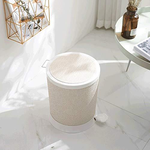 XDYNJYNL Papelera de basura resistente a los golpes para el hogar, baño, sala de estar, cocina con cubierta, bonito hotel creativo con tapa, cubo de basura tipo pedal (color: blanco)