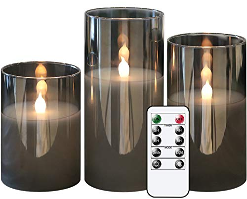 GenSwin Gray Glass Battery Operated Flameless Led Candles with 10-Key Remote and Timer, Real Wax...
