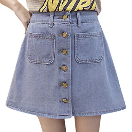 Deloito Sommer Jeansrock Damen Freizeit Kurzer Rock A-Linie Schlanke Denim Röcke mit Knöpfen Tasche Mädchen Hoher Taille Minirock (Hellblau,X-Large)