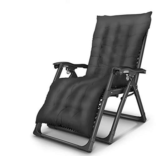 LIYONG Déjeuner Pause lit lit Chaise Pliante Accueil Chaise Cool Chaise berçante Portable Chaise Longue Pliante (Color : A Plus Black Cotton Pad)
