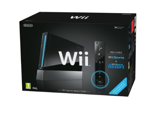 Nintendo Wii (Black) with Wii Sports + Wii Sports Resort: Includes Wii Remote Plus[Importación inglesa]