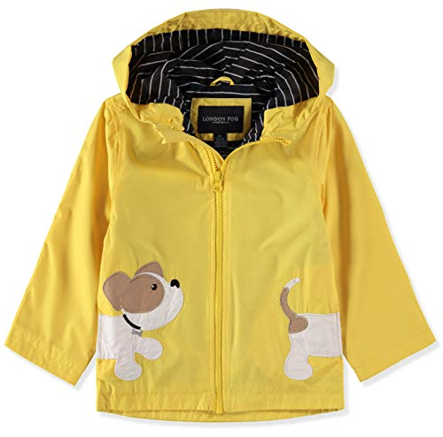 LONDON FOG Boys' Toddler Little Animal Rainslicker Rain Jacket, Yellow Puppy, 4T