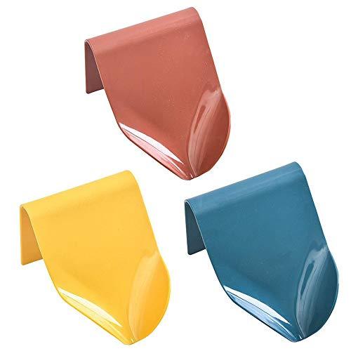 Jaboneras Autoadhesiva, 3 Piezas Jaboneras de Plástico ABS, Soporte Jabón Autoadhesivo, Jabonera para Ducha, para Baño, Esponja Cocina, Jabón, Diseño Filtro Embudo (Azul, Rojo Ladrillo, Amarillo)