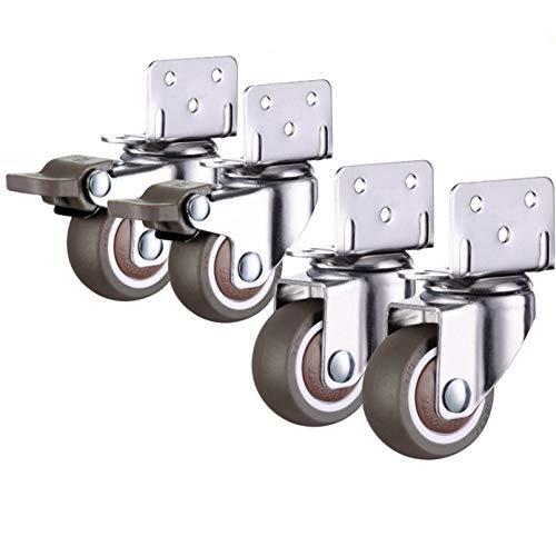 Ruedas giratorias mudas de 4 Piezas para cunas, Ruedas Giratorias para Muebles Pivotantes Goma,con Soporte Tipo L, con Tornillos,1.0 inch/1.25 inch/1.5 inch/2.0 inch(2.0 inch)