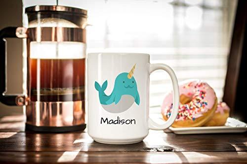N\A Narwal Tasse mit Namen - Personalisierte Tasse Kinder - Keramik Kaffeetasse Geschirrspüler und Mikrowelle sicher