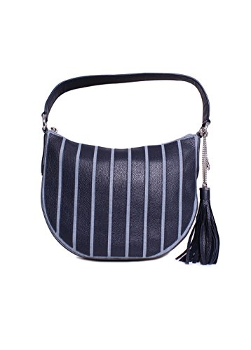 "Interior features 1 zip pocket, 4 slip pockets and key clip 9-1/2""L handle; 20-1/2"" to 23-1/2""L adjustable, removable strap Exterior features silver-tone hardware and tassel accent Cotton/polyester canvas; trim: leather; lining: polyester 13""W x 9-1/..."