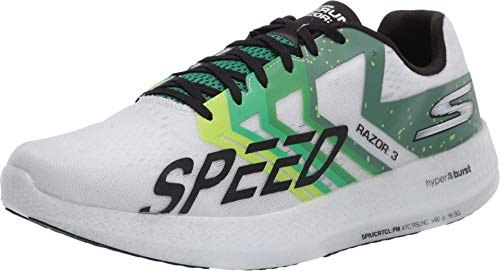 Skechers mens Go Run Razor 3 Sneaker, White/Green, 9.5 Women 8 Men US