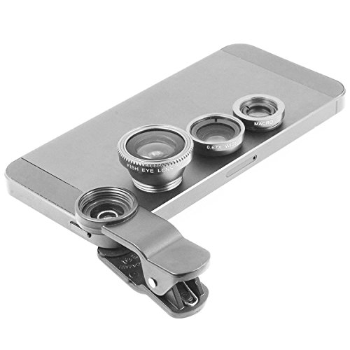 Salesland Gray Universal Clip-on 180 degree 3 in 1 Fisheye+Wide Angle+Macro Camera Lens Kit for iPhone 5 5S 4 4S 6 Samsung Galaxy S5/S4/S3 Note 4/3/2 HTC Blackberry Bold Touch, Sony Xperia,