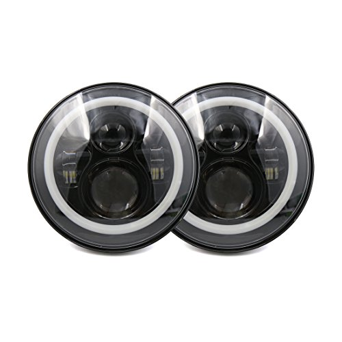"X AUTOHAUX 2pcs DC 10-30V 7"" Round LED Headlight H4 High Low Beam Headlamp Bulb Turn Signal DRL Ring Angel Eye for Jeep Wrangler JK TJ LJ CJ"