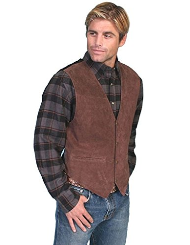 Scully Men's Suede Leather Western Vest , Expresso Boar Suede, XL