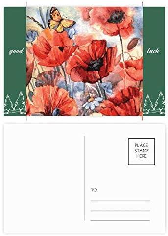 Kleurrijke Vlinder met Bloemen Veel Geluk Postkaart Set Kaart Mailing Zijde 20 stks