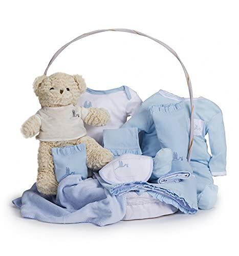 BebeDeParis | Regalos de Lujo para Bebés Recién Nacidos | Canastilla Bebé Clásica | Cesta de Regalo Bebé Personalizada | 3-6 Meses (Azul)