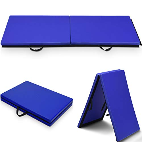 COSTWAY Weichbodenmatte Gymnastikmatte Yogamatte Klappmatte Turnmatte Fitnessmatte 2 Fach klappbar 180x60x4cm (Blau)