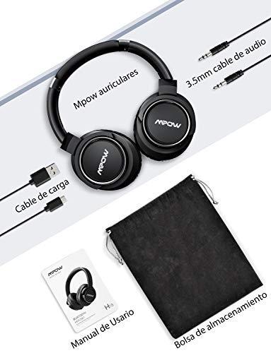 Mpow H18 Casco Bluetooth Inalámbricos, Auriculares bluetooth Diadema con Cancelación Activa de Ruido, 50 Horas de Juego, Hi-Fi Sonido con Bajos Potente, Cascos Diadema para TV/Móvil/Tableta/PC