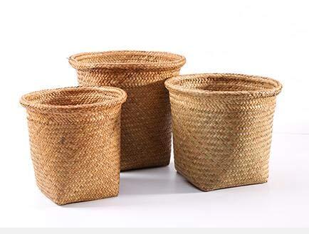 Super Armsteun. Rieten papieren mand ronde bloempot set opslag mand rotan vuilnis mand tuin bloem mand geweven prullenbak