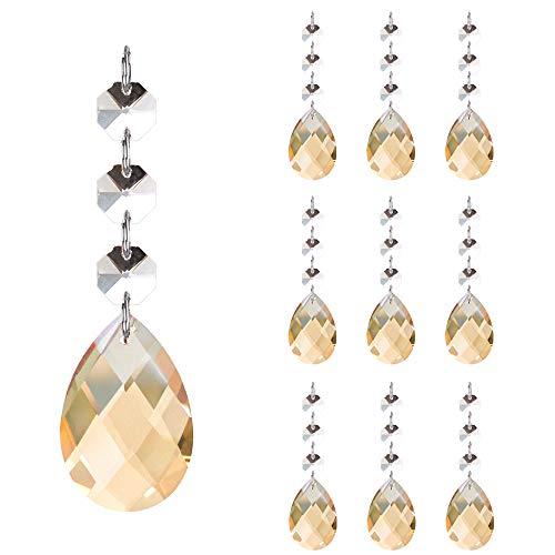 Cuentas de Cristal, 10 Colgantes de Cristal de Lágrimas de 3cm con 3 Cuentas de Octágono, Colgantes de Cristal para Luz de Techo, Lámpara de Cortina, Decoración de árboles (ámbar)