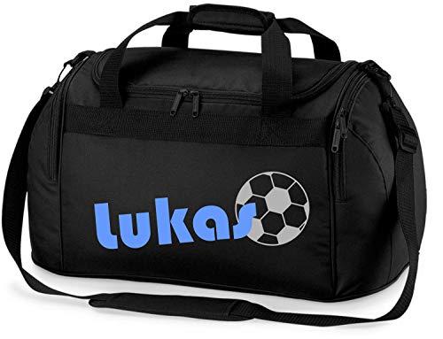 Sporttasche mit Namen | inkl. NAMENSDRUCK | Motiv Fußball | Personalisieren & Bedrucken | Reisetasche Jungen Ball Sport-Verein | blau schwarz (schwarz)