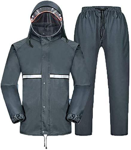 ZXL Regenjas, heren, gevoerd, waterdichte regenkleding, regenbroek, set volwassenen, regenpak voor motorfiets, split, regenjas, paardrijden, outdoor, wandelen, poncho, regenkleding, maat
