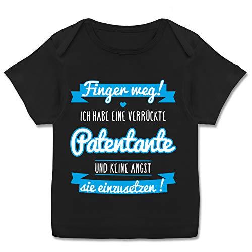Sprüche Baby - Ich Habe eine verrückte Patentante blau - 68-74 (9 Monate) - Schwarz - t-Shirts Baby Junge Kurzarm - E110B - Kurzarm Baby-Shirt für Jungen und Mädchen