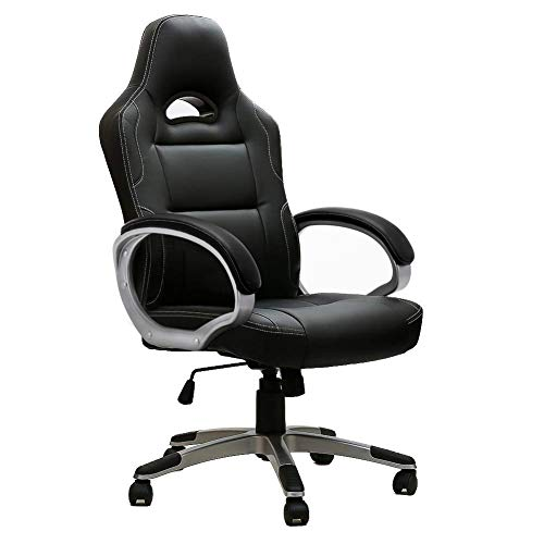 IntimaTe WM Heart Racing Chaise de Gamer Professionnel Siège de Bureau Fauteuil de Gaming Ergonomique Dossier Haut Inclinable en Similicuir pour PC Joueur (Noir)