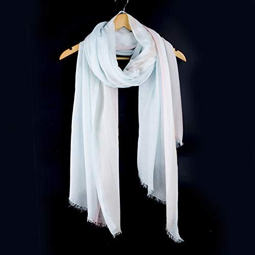 MYTJG dames sjaal katoen sjaal lang gestreepte mode blauwe sjaal zachte warme lenteherfst en winter sjaal dames
