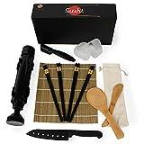 Kit sushi completo. Set para hacer sushi profesional de 16 piezas. Sushi kit compuesto de sushi bazooka, cuchillo, moldes de nigiri y onigiri, palillos, esterilla de bambú, cuchara y mezclador.