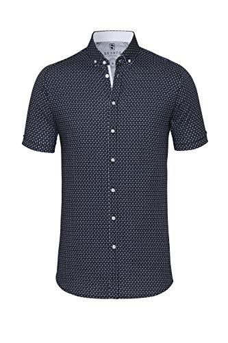 DESOTO Herren Hemd Kurzarm mit Button-down Kragen - Bügelfrei, Farbe:Blau (Navy White Palms 545), Größe:L