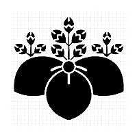 桔梗桐紋 花紋 シルエット 家紋ステッカー (メタリック金:ゴールド)