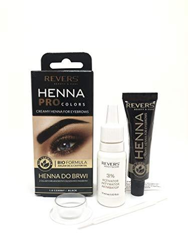 Tinte Permanente profesional para cejas, 15 ml Henna KIT efecto 2 semanas 8 veces aplicacíon, con aceites de argán & Castle (Negro)