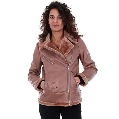 VERO MODA Daunenjacke Damen S Langarm Rosa 10201283 VMPOP Faux Shearling Jacket Misty Rose