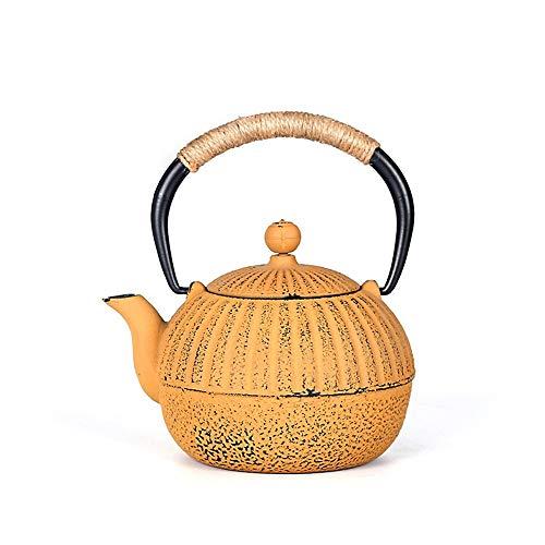 Eisen Teekanne Gelb Gusseisen Teekanne Roheisen Topf Japanische Art Teekanne Eiserne Teekanne Für Haushaltstee (Color : Cast Iron, Size : 500ml)
