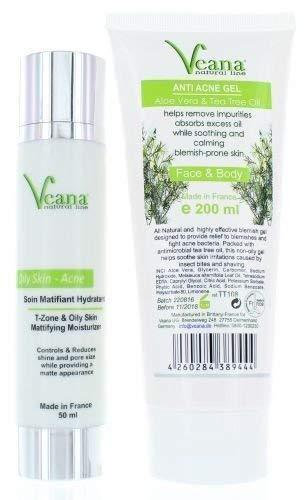 Arbre à thé matt Gel De l'Humidité pour gras acné-peau + Anti-acné nettoyant Aloe Vera et Gel d'arbre de thé