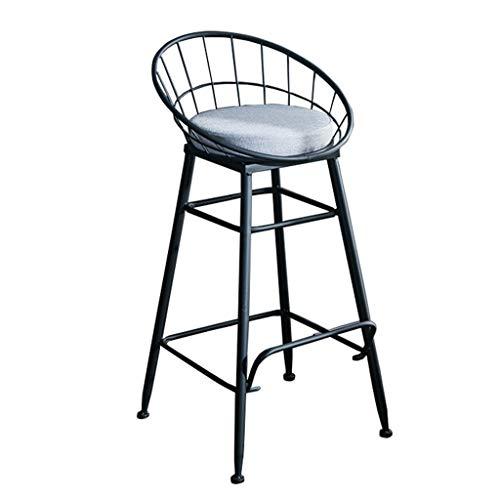 J-HOME Tabouret de bar Tabourets moderne chaise avec dossier repose-pieds repose-pieds tabouret haut siège en tissu chaises pour cuisine   Pub   Pieds en métal pour tabouret de bar industriel   Charge