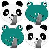 Tatkraft Team 4er Pack Klebehaken Kinder, Handtuchhalter Aus Edelstahl, Panda und Frosch Design, Handtuchhaken Selbstklebend Schnell Montiert, Bis zu 5 kg, Humorvolles Design Für Jedes Alter