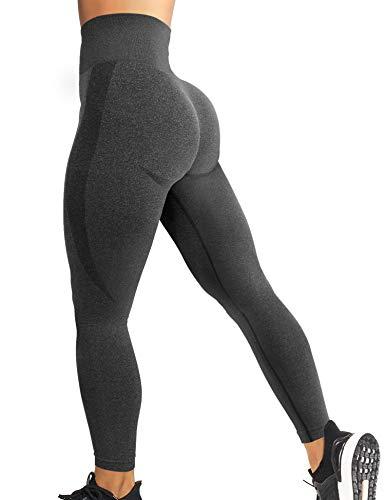 YEOREO Women High Waist Workout Gym Smile Contour Seamless Leggings Yoga Pants Tights Gray M