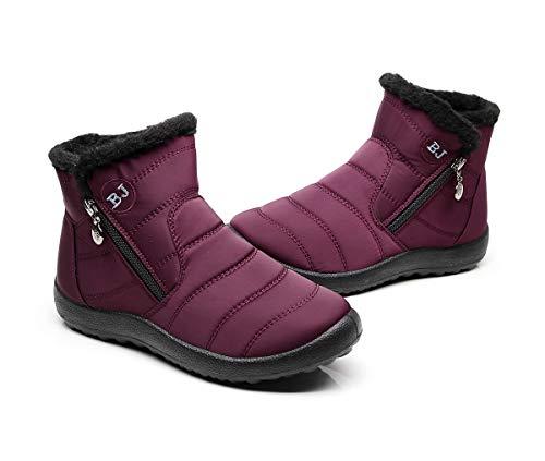 Botas de Nieve Zapatos Mujer,Popoti Botas de Nieve Cremallera Calientes Botines Forradas Cortas Ankle Boots Algodón Zapatos Invierno Aire Libre Sport Botines (Rojo Vino-1, 36)