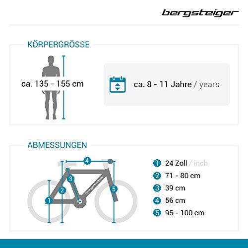 Bergsteiger Kodiak 24 Zoll Kinderfahrrad, geeignet für 8, 9, 10, 11 Jahre, Scheibenbremse, Shimano 21 Gang-Schaltung, Mountainbike mit Vollfederung, Mädchen-Fahrrad - 2