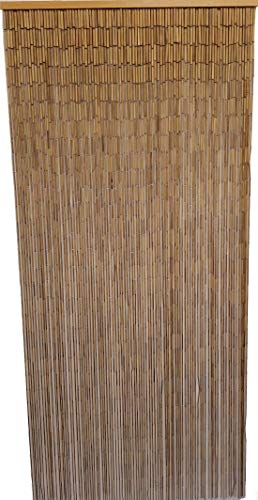 ABeadedCurtain 90 String Natural Bamboo Beaded Curtain (+Hanging Hardware)