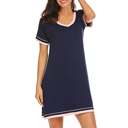 American Trends - Camisón casual para mujer, algodón suave, para dormir, ropa de dormir suelta para mujer, uso diario, Marino, XL