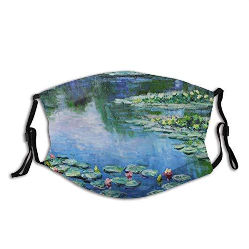 Water Lily Monet - Máscara facial con bolsillo lavable para la cara, pasamontañas reutilizable con filtro de 2 piezas