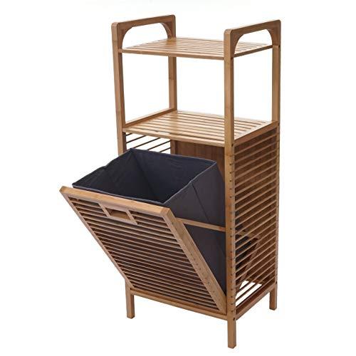 Mendler Regal mit Wäschekorb HWC-B94, Wäschebox Wäschesammler Wäschebehälter Standregal Aufbewahrung, Bambus 95x40x30cm 28l