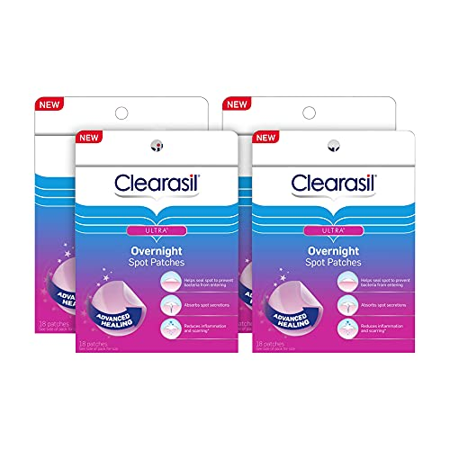 Acne Treatment Face Patches - Clearasil Ultra Overnight Spot Patches Advanced Healing for Acne Control, 18 Count (Pack of 4)